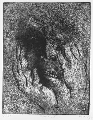 Gabor Peterdi (American, born Hungary, 1915-2001). Despair III, 1938. Etching and engraving on paper, 12 7/16 x 9 13/16 in. (31.6 x 25 cm). Brooklyn Museum, Gift of Martin Segal, 53.114.4. © Estate of Gabor Peterdi