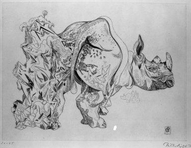 Gabor Peterdi (American, born Hungary, 1915-2001). Rhinoceros, 1936. Engraving on paper, 8 11/16 x 11 11/16 in. (22 x 29.7 cm). Brooklyn Museum, Gift of Martin Segal, 53.114.5. © Estate of Gabor Peterdi