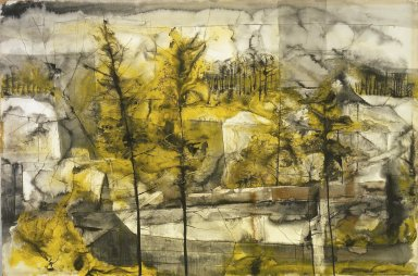 William Thon (American, 1906-2000). Quarry, ca. 1952. Watercolor and perhaps India ink on paper, 27 1/2 x 41 in.  (69.9 x 104.1 cm). Brooklyn Museum, Dick S. Ramsay Fund, 53.144. © Portland Museum of Art, Maine. All rights reserved.