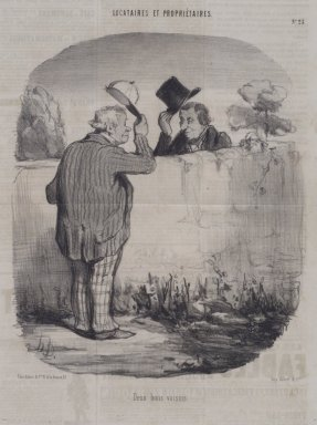 Honoré Daumier (French, 1808-1879). Deux Bons Voisins, November 8, 1847. Lithograph on newsprint, Sheet: 14 3/8 x 9 3/4 in. (36.5 x 24.8 cm). Brooklyn Museum, A. Augustus Healy Fund, 53.166.10