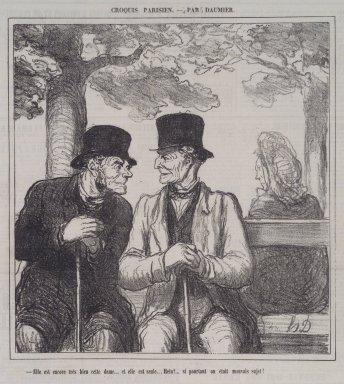 Honoré Daumier (French, 1808-1879). Elle Est Encore Très Bien, Cette Dame..., September 8, 1864. Lithograph on newsprint, Sheet: 12 5/8 x 11 3/8 in. (32.1 x 28.9 cm). Brooklyn Museum, A. Augustus Healy Fund, 53.166.12