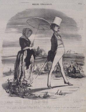 Honoré Daumier (French, 1808-1879). Et On Appelle, Ça Descendre le Fleuve de la Vie..., June 28, 1842. Lithograph on newsprint, Sheet: 14 7/16 x 9 3/8 in. (36.7 x 23.8 cm). Brooklyn Museum, A. Augustus Healy Fund, 53.166.14
