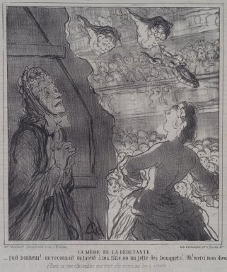 Honoré Daumier (French, 1808-1879). La Mère de la Débutante, July 2, 1864. Lithograph on newsprint, Sheet: 12 1/16 x 11 1/4 in. (30.6 x 28.6 cm). Brooklyn Museum, A. Augustus Healy Fund, 53.166.16