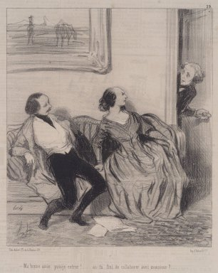 Honoré Daumier (French, 1808-1879). Ma Bonne Amie, Puis-je Entrer!, May 30, 1844. Lithograph on newsprint, Sheet: 13 15/16 x 9 1/2 in. (35.4 x 24.1 cm). Brooklyn Museum, A. Augustus Healy Fund, 53.166.17