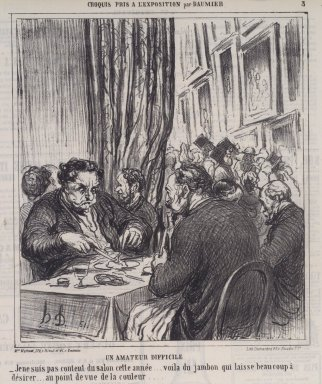 Honoré Daumier (French, 1808-1879). Un Amateur Difficile, June 17, 1864. Lithograph on newsprint, Sheet: 11 5/16 x 10 in. (28.7 x 25.4 cm). Brooklyn Museum, A. Augustus Healy Fund, 53.166.20