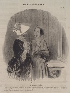 Honoré Daumier (French, 1808-1879). Un Chapeau Pamèla, November 4, 1845. Lithograph on newsprint, Sheet: 13 7/8 x 9 1/2 in. (35.2 x 24.1 cm). Brooklyn Museum, A. Augustus Healy Fund, 53.166.21