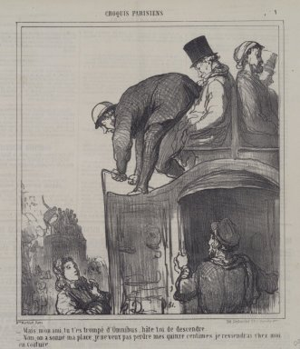 Honoré Daumier (French, 1808-1879). Mais, Mon Ami, Tu T'es Trompé d'Omnibus..., February 12, 1866. Lithograph on newsprint, Sheet: 11 3/8 x 10 3/8 in. (28.9 x 26.4 cm). Brooklyn Museum, A. Augustus Healy Fund, 53.166.4