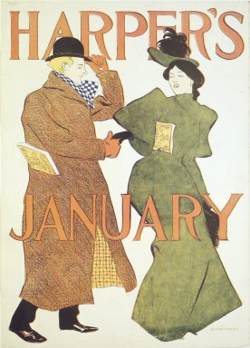 Edward Penfield (American, 1866-1925). Harper's Poster - January 1895, 1895. Lithograph on wove paper, Sheet: 18 x 12 15/16 in. (45.7 x 32.8 cm). Brooklyn Museum, Dick S. Ramsay Fund, 53.167.10