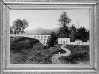 "Landscape Showing the Aqueduct of ""El Sitio,"" 1865-1867. Oil on canvas, Framed: 36 x 47 1/2 in. (91.4 x 120.7 cm). Brooklyn Museum, Gift of A. Algara R. de Terreros, 53.180.2"