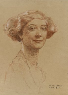 Violet Oakley (American, 1874-1960). Portrait of Mrs. J. Monroe Hewlett, 1937. Red, white, and black chalk (possibly Conté crayon) on beige, moderately thick, moderately textured wove paper, Sheet: 15 11/16 x 11 11/16 in. (39.8 x 29.7 cm). Brooklyn Museum, Gift of the Monroe and Estelle Hewlett Collection, 53.197