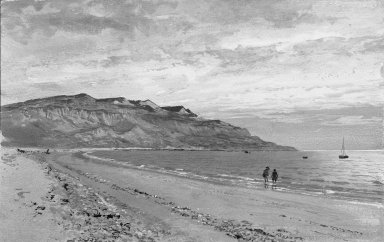 William Trost Richards (American, 1833-1905). Shoreline with Two Figures. Watercolor, 8 13/16 x 13 15/16 in. (22.4 x 35.4 cm). Brooklyn Museum, Bequest of Mrs. William T. Brewster through the National Academy of Design, 53.225