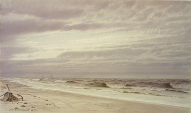 William Trost Richards (American, 1833-1905). Beach Scene with Barrel and Anchor, 1870. Watercolor on paper, 8 5/16 x 13 15/16 in. (21.1 x 35.4 cm). Brooklyn Museum, Bequest of Mrs. William T. Brewster through the National Academy of Design, 53.227