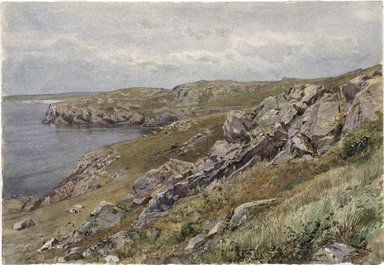 William Trost Richards (American, 1833-1905). Rhode Island Coast: Conanicut Island, ca. 1880. Transparent watercolor with touches of opaque watercolor on cream, moderately thick, slightly textured wove paper, 10 x 14 7/16 in. (25.4 x 36.7 cm). Brooklyn Museum, Bequest of Mrs. William T. Brewster through the National Academy of Design, 53.229
