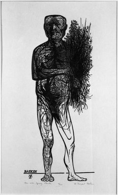 Leonard Baskin (American, 1922-2000). Man with Spring Plants, ca. 1953. Woodcut Brooklyn Museum, Anonymous gift, 53.236.5. © Estate of Leonard Baskin, Courtesy Galerie St. Etienne, New York