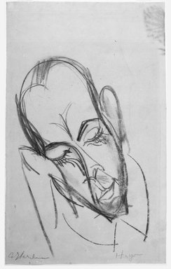Ernst Ludwig Kirchner (German, 1880-1938). Maennlicher Kopf (Head of a Man). Charcoal drawing on wove paper, Sheet: 18 15/16 x 11 3/4 in. (48.1 x 29.8 cm). Brooklyn Museum, A. Augustus Healy Fund, 53.254.2