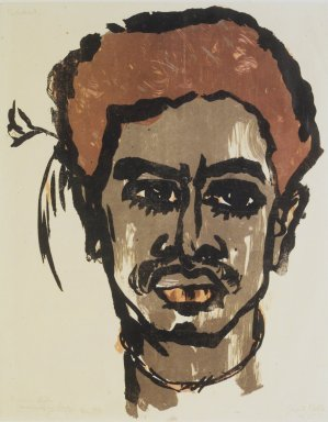 Emil Nolde (German, 1867-1956). South Sea Islander (Südsee-Insulaner II), 1915. Lithograph in taupe, orange, and brown on wove paper, Image: 16 15/16 x 13 1/8 in. (43 x 33.3 cm). Brooklyn Museum, A. Augustus Healy Fund, 53.254.3