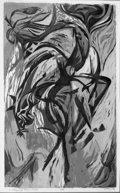 Seong Moy (American, born China, 1921). Classical Horse and Rider, 1952. Woodcut on paper, 25 1/8 x 15 3/16 in. (63.8 x 38.5 cm). Brooklyn Museum, Dick S. Ramsay Fund, 53.28. © Seong Moy