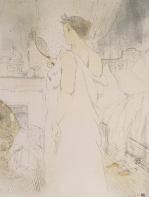 Henri de Toulouse-Lautrec (French, 1864-1901). Femme a Glace from Elles, 1896. Lithograph on wove paper, 20 9/16 x 15 3/4 in. (52.2 x 40 cm). Brooklyn Museum, Gift of Millicent Huttleston Rogers, 53.8.10