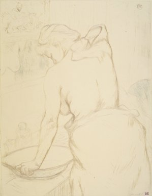 Henri de Toulouse-Lautrec (French, 1864-1901). Woman Washing Herself (Femme qui se lave), 1896. Lithograph on wove paper, 20 1/2 x 15 15/16 in. (52 x 40.5 cm). Brooklyn Museum, Gift of Millicent Huttleston Rogers, 53.8.11