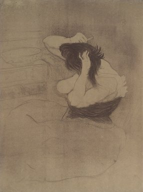 Henri de Toulouse-Lautrec (French, 1864-1901). Femme Qui Se Peigne from Elles, 1896. Lithograph on wove paper, 20 1/16 x 15 3/16 in. (51 x 38.5 cm). Brooklyn Museum, Gift of Millicent Huttleston Rogers, 53.8.12