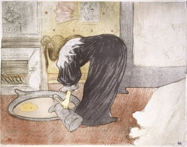 Henri de Toulouse-Lautrec (French, 1864-1901). Woman at the Tub from the Portfolio Elles  (Femme au Tub ), 1896. Lithograph on wove paper, 15 11/16 x 20 1/2in. (39.8 x 52.1cm). Brooklyn Museum, Gift of Millicent Huttleston Rogers, 53.8.3