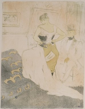 Henri de Toulouse-Lautrec (French, 1864-1901). Femme En Corset from Elles, 1896. Lithograph on wove paper, 20 11/16 x 15 7/8 in. (52.6 x 40.3 cm). Brooklyn Museum, Gift of Millicent Huttleston Rogers, 53.8.6