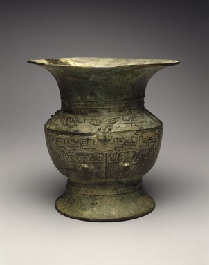 Ritual Wine Vessel (Zun), ca. 13th-12th century B.C.E. Bronze, 8 5/8 x 5 7/8 in. (21.9 x 14.9 cm). Brooklyn Museum, Gift of David James in memory of his brother, William James, 54.10.3. Creative Commons-BY