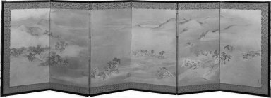 Maruyama Okyo (Japanese, 1733-1795). Landscape of the Four Seasons, ca.1787. A pair of screens, painting in color and gold wash and sprinkles on paper, 21 9/16 x 69 7/8 in. (54.8 x 177.5 cm). Brooklyn Museum, Anonymous gift, 54.102.8. Creative Commons-BY