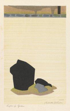Yoshida  Hodaka (Japanese, 1926-1995). Ryunaji Garden, Kyoto, 1953. Woodblock print on paper, 7 1/2 x 4 13/16 in. (19.1 x 12.2 cm). Brooklyn Museum, Henry L. Batterman Fund, 54.112.2. © Estate of Yoshida Hodaka