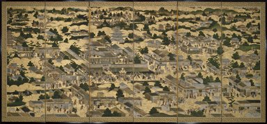 Views In and Around Kyoto (Rakuchu rakugai zu), ca.1616-1624. Ink, color and gold leaf on paper, 68 5/8 x 130 x 12 in. (174.3 x 330.2 x 30.5 cm). Brooklyn Museum, Gift of W. W. Hoffman, 54.144a-b. Creative Commons-BY