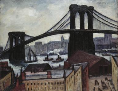 Samuel Halpert (American, 1884-1930). View of Brooklyn Bridge, 1920s. Oil on canvas, image (approximate site measurement of canvas): 28 x 35 3/4 in. (71.1 x 90.8 cm). Brooklyn Museum, Gift of Benjamin Halpert, 54.15