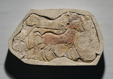 A Span of Two Horses Pulling a Chariot, ca. 1353-1336 B.C.E. Gypsum plaster, painted, 8 11/16 x 13 13/16 in. (22 x 35.1 cm). Brooklyn Museum, Charles Edwin Wilbour Fund, 54.186. Creative Commons-BY