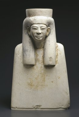Bust with a Long Wig, ca. 1336-1279 B.C.E. Limestone, painted, 10 1/4 x 6 1/8 x 3 3/4 in. (26 x 15.6 x 9.5 cm). Brooklyn Museum, Charles Edwin Wilbour Fund, 54.1. Creative Commons-BY