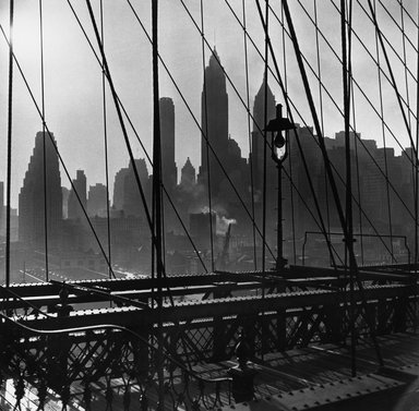Esther Bubley (American, 1921-1998). New York Harbor, View of Lower Manhattan from Brooklyn Bridge, October 1946, 1946. Gelatin silver photograph, 10 1/4 x 10 7/16 in. (26 x 26.5 cm). Brooklyn Museum, Gift of Standard Oil Company, New Jersey, 54.201.1. Standard Oil (New Jersey) Collection, Photographic Archives, University of Louisville
