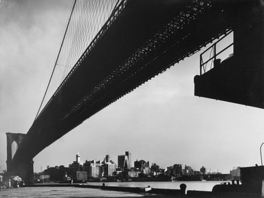 Harold Corsini (born 1919). New York Harbor, Brooklyn Bridge Spanning the East River as Seen from Pier on Manhattan Side, November 1946, 1946. Gelatin silver photograph, 10 1/8 x 13 1/8 in. (25.7 x 33.3 cm). Brooklyn Museum, Gift of Standard Oil Company, New Jersey, 54.201.2. Standard Oil (New Jersey) Collection, Photographic Archives, University of Louisville