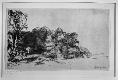 Rembrandt Harmensz. van Rijn (Dutch, 1606-1669). Clump of Trees with a Vista, 1652. Drypoint on laid paper, Plate: 5 x 8 3/8 in. (12.7 x 21.3 cm). Brooklyn Museum, Gift of Mrs. Horace O. Havemeyer, 54.35.11