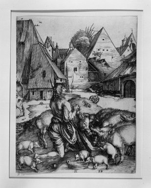 Albrecht Dürer (German, 1471-1528). Prodigal Son, 1496. Engraving on laid paper, 9 13/16 x 7 1/2 in. (24.9 x 19.1 cm). Brooklyn Museum, Gift of Mrs. Horace O. Havemeyer, 54.35.2