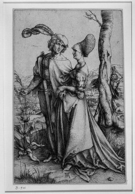 Albrecht Dürer (German, 1471-1528). The Promenade, 1510 (possibly). Engraving on laid paper, 7 5/8 x 4 15/16 in. (19.4 x 12.6 cm). Brooklyn Museum, Gift of Mrs. Horace O. Havemeyer, 54.35.3