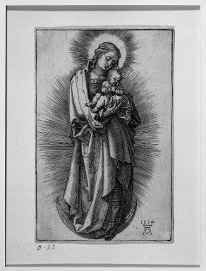 Albrecht Dürer (German, 1471-1528). The Virgin on the Crescent with Short Hair Tied With a Ribbon, 1514. Engraving on fine-laid reinforced paper, 4 3/4 x 30 5/16 in. (12 x 77 cm). Brooklyn Museum, Gift of Mrs. Horace O. Havemeyer, 54.35.4