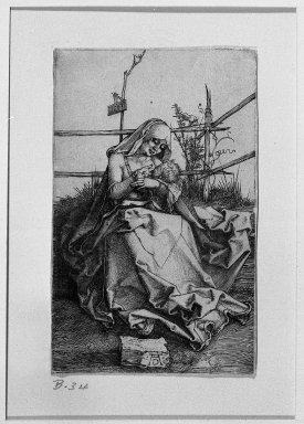 Albrecht Dürer (German, 1471-1528). The Virgin Nursing the Child, 1503. Engraving on fine-laid reinforced paper, 4 1/2 x 2 13/16 in. (11.5 x 7.2 cm). Brooklyn Museum, Gift of Mrs. Horace O. Havemeyer, 54.35.5