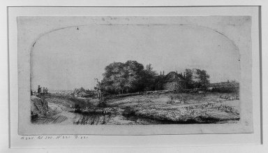 Rembrandt Harmensz. van Rijn (Dutch, 1606-1669). Landscape with a Hay Barn and a Flock of Sheep, 1652. Etching and drypoint on laid paper, Plate: 3 5/16 x 6 7/8 in. (8.4 x 17.5 cm). Brooklyn Museum, Gift of Mrs. Horace O. Havemeyer, 54.35.9
