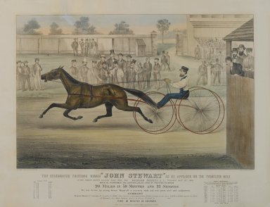 Currier & Ives (American). The Celebrated Trotting Horse, John Stewart ... on Fashion Course, 1868. Lithograph, Image: 16 1/2 x 25 1/2 in. (41.9 x 64.8 cm). Brooklyn Museum, Dick S. Ramsay Fund, 54.36