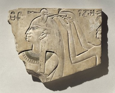 Sunk Relief of Queen Neferu, ca. 2008-1957 B.C.E. Limestone, paint , 7 1/2 x 9 5/16 x 3/4 in. (19 x 23.6 x 1.9 cm). Brooklyn Museum, Charles Edwin Wilbour Fund, 54.49. Creative Commons-BY