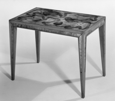 Paolo De Poli (enamel) (Italian, 1905-1996). Table, designed ca. 1942. Enamel on copper and wood (walnut ?), 17 3/4 x 24 1/4 x 15 in. (45.1 x 61.6 x 38.1 cm). Brooklyn Museum, Gift of the Italian Government, 54.64.124. Creative Commons-BY