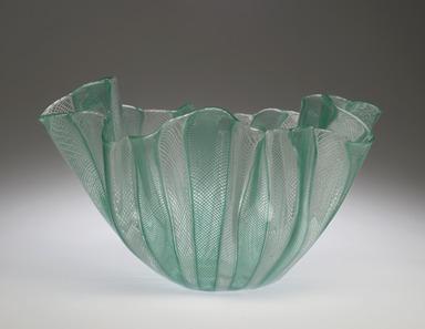 Venini & Company (1921-present). Fazzoletto (Handkerchief) Bowl, model 4215, ca. 1949. Glass, 5 3/4 x 9 3/4 in. (14.6 x 24.8 cm). Brooklyn Museum, Gift of the Italian Government, 54.64.7. Creative Commons-BY