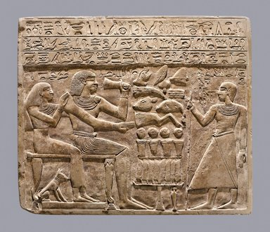 Stela of Intef and Senettekh, ca. 2065-2000 B.C.E. Limestone, 11 3/4 x 13 15/16 x 15/16 in. (29.8 x 35.4 x 2.4 cm). Brooklyn Museum, Charles Edwin Wilbour Fund, 54.66. Creative Commons-BY