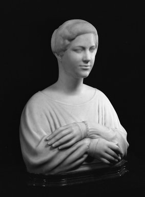 Elie Nadelman (American, 1882-1946). Portrait of Jane Wallach, ca. 1917-1918. White marble on green stone base, 26 1/8 x 17 7/8 x 14 1/8 in. (66.4 x 45.4 x 35.9 cm). Brooklyn Museum, Gift of Edna Barger, 54.74. Creative Commons-BY