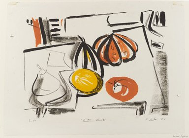 Gerson Leiber (American, born 1921). Autumn Fruits, 1954. Lithograph in color on wove paper, Sheet: 13 1/8 x 17 3/4 in. (33.3 x 45.1 cm). Brooklyn Museum, Dick S. Ramsay Fund, 54.88. © Gerson Leiber