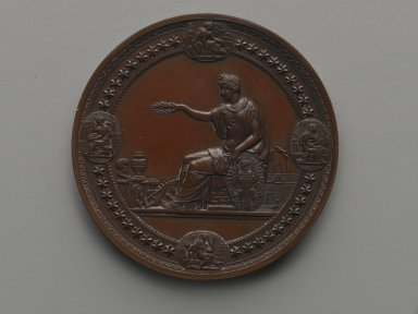 Henry Mitchell (American, active 1860-1880). United States Centennial Commission Medal, 1876. Bronze, 3 x 3 x 3/8 in. (7.6 x 7.6 x 1 cm). Brooklyn Museum, Gift of North Star Woolen Mills, 54.98.3. Creative Commons-BY