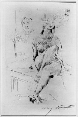 Lovis Corinth (German, 1858-1925). Female Nude Crouching on a Table (Auf einem Tische kauernder weiblicher Akt), 1913. Drypoint on laid paper, Image (Plate): 10 13/16 x 7 7/16 in. (27.5 x 18.9 cm). Brooklyn Museum, Gift of Benjamin Weiss, 55.113.13
